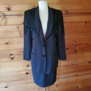 1980s Lew Magram Black, Beaded, Western Style Suit